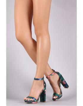 Floral Print Ankle Strap Platform Chunky Heel