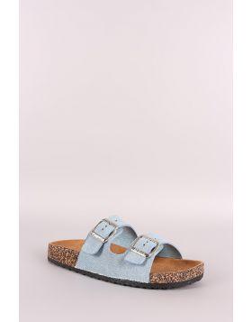 Denim Open Toe Buckled Cork Footbed Slide Sandal