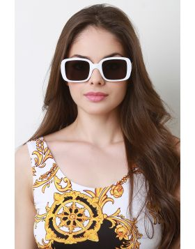 Retro Square Frame Sunglasses -  White