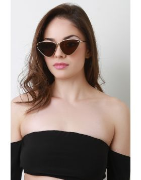 Angled Cat Eye Sunglasses -  Brown