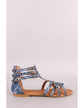 Tribal Print Buckled Gladiator Flat Sandal - Blue Multi Size - 6