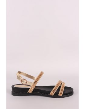 Bamboo Rhinestone Embellished Triple Band Slingback Flat Sandal
