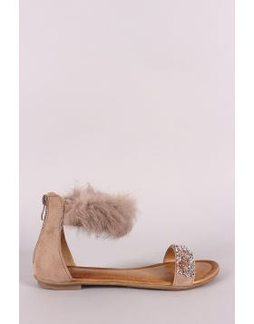 Faux Fur Ankle Cuff Rhinestone Encrusted Flat Sandal - Taupe Size - 5