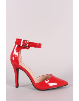 Patent Pointy Toe Ankle Strap Pump