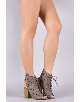 Laser Cutout Lace-Up Peep Toe Chunky Heel Bootie - Stone Size - 6.5