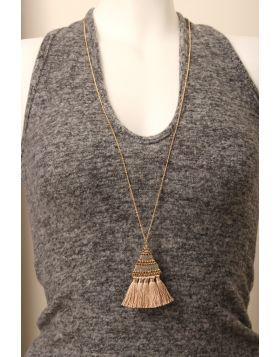 Tassel Fringe Beaded Triangle Long Chain Necklace -  Pink