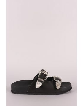 Wild Diva Lounge Etched Buckled Double Band Footbed Sandal