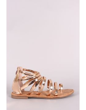 Patent Strappy Gladiator Toe Ring Flat Sandal - Rose Gold Size - 7.5