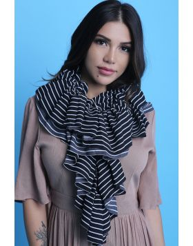 Stripe Ruffled Scarf -  Black