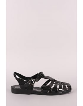 Bamboo Jelly Fisherman Flat Sandal - Black Size - 7