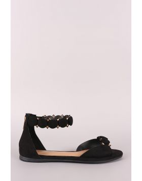 Bamboo Suede Button Ankle Strap Sandal - Black Suede Size - 6