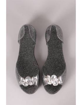Bamboo Gemstone Glitter Accent Jelly Dorsay Flat - Black Size - 5
