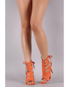 Shoe Republic LA Strappy Caged Back Lace-Up Heel