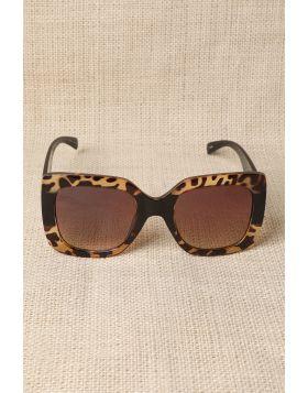 Plastic Frame Oversized Sunglasses -  Leopard