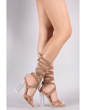 Suede Crisscross Leg Wrap Clear Chunky Heel