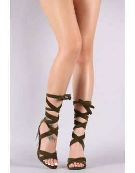 Suede Crisscross Leg Wrap Clear Chunky Heel - Olive Size - 5.5