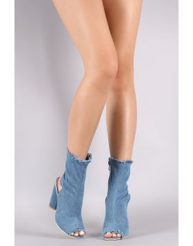 Frayed Denim Peep Toe Chunky Heeled Fitted Booties - Blue Size - 5.5