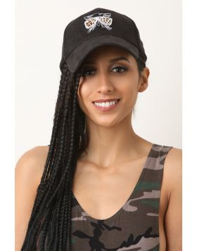 Cool Cat Suede Baseball Cap -  Black