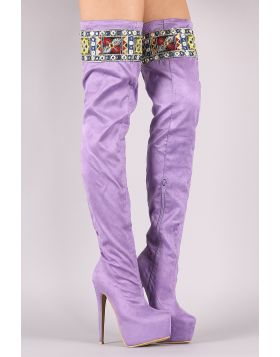 Embroidered Suede Pointy Toe Chunky Platform Heeled OTK Boots