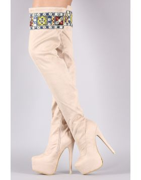 Embroidered Suede Pointy Toe Chunky Platform Heeled OTK Boots - Nude Size - 5.5