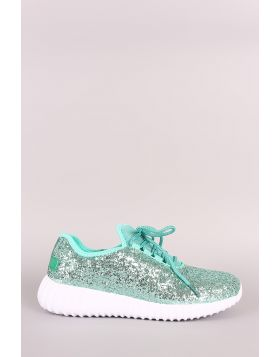 Glitter Ridge Sole Lace Up Sneakers - Green Size - 7