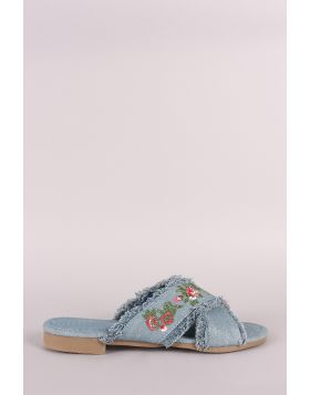 Frayed Denim Floral Embroidered Crisscross Slide Sandal