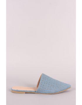 Studded Denim Pointy Toe Mule Flats - Denim Size - 6