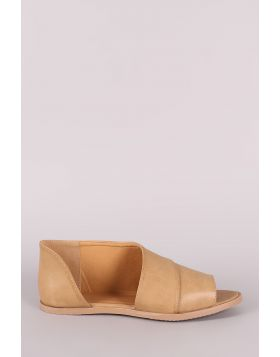 Qupid Peep Toe Slip On Dorsay Flat - Taupe Size - 5.5