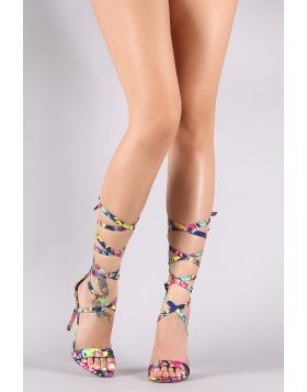 Liliana Tropical Open Toe Strappy Leg Wrap Stiletto Heel