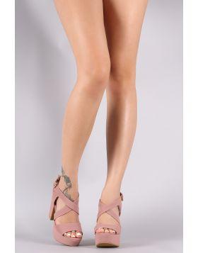 Bamboo Strappy Platform Chunky Heel