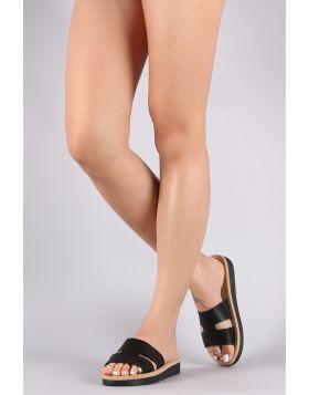 Bamboo H-Band Flatform Slide Sandal