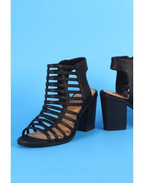 Soda Strappy Caged Chunky Heel - Black Size - 8