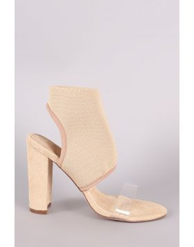 Fitted Ankle Cuff Clear Strap Open Toe Heel - Nude Size - 6
