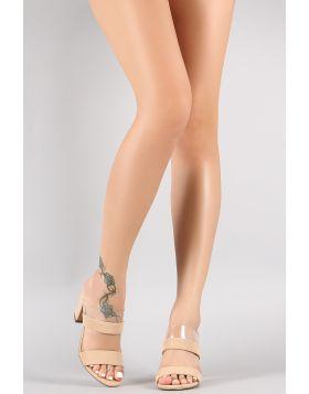 Nubuck Clear Double Band Open Toe Chunky Mule Heel - Nude Size - 6.5