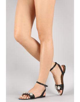Jewel Embellished Ankle Strap Flat Sandal - Black Size - 6