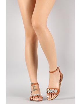 Jewel Embellished Ankle Strap Flat Sandal