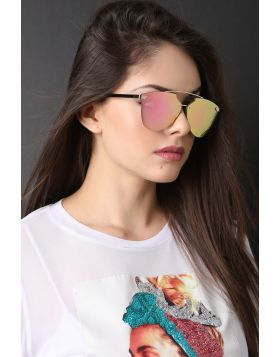 Double Metal Bridge Mirrored Sunglasses -  Pink