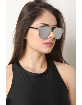 Double Metal Bridge Mirrored Sunglasses -  Silver