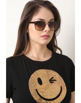 Metal Double Bridge Ombre Lenses Sunglasses -  Brown