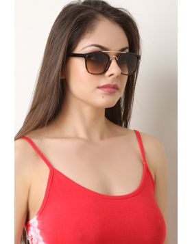 Metal Double Bridge Ombre Lenses Sunglasses -  Leopard