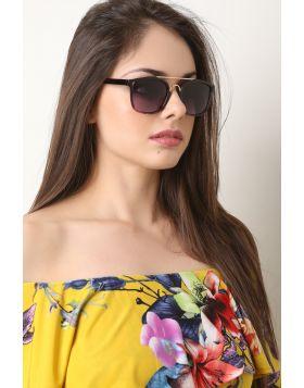 Metal Double Bridge Ombre Lenses Sunglasses -  Purple