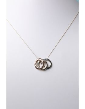 Tri-Color Hoop Pendants Necklace -  Gold Multi