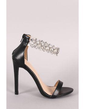 Rhinestone Embellished Transparent Ankle Strap Heel