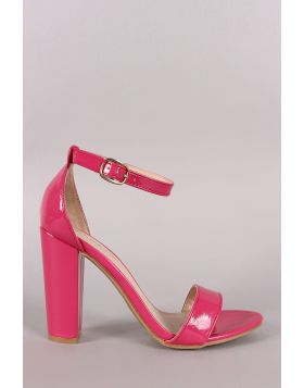 Bamboo Patent Leather Open Toe Ankle Strap Chunky Heel - Fuchsia Size - 5.5