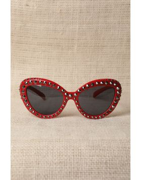 Studded Semi-Round Sunglasses -  Red
