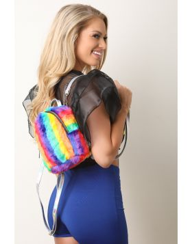 Rainbow Faux Fur Mini Backpack -  Multi 2