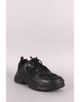 Wild Diva Lounge Mesh Trim Lace Up Sneaker - Black Size - 6