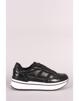 Qupid Distressed Leather Lace Up Flatform Sneaker - Black Size - 6