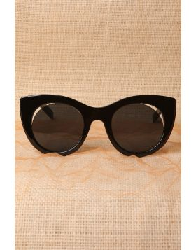 Plastic Frame Cat Eye Cutout Sunglasses -  Black/Gold