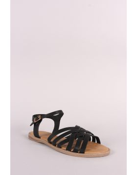 Bamboo Nubuck Open Toe Weaved Band Flat Sandal - Black Size - 7.5
